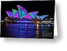 Vivid Sydney By Kaye Menner - Opera House... Patterns 2 Greeting Card