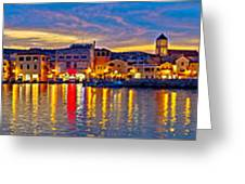 Vodice Waterfront Colorfu Evening Panorama Greeting Card