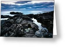 Volcanic Coastline And Cloudy Sunset Greeting Card