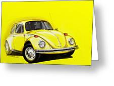 Volkswagen Beetle Vw Yellow Greeting Card
