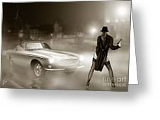Volvo P1800 And Hot Detective Greeting Card