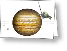 Voyager Spacecraft And Jupiter, Artwork Greeting Card