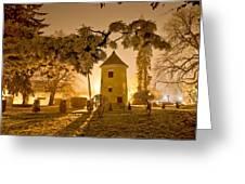 Vrbovec Winter Night Scene In Park Greeting Card