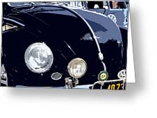 Vw Beetle Black Front Greeting Card