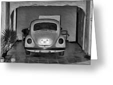 Vw Beetle Digital Painting Greeting Card
