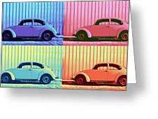 Vw Beetle Pop Art Quad Greeting Card by Laura Fasulo