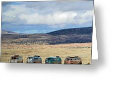 Vws Lined Up Under A New Mexico Sky Greeting Card