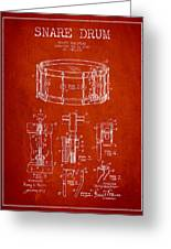 Waechtler Snare Drum Patent Drawing From 1910 - Red Greeting Card