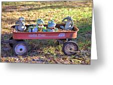 Wagon Full Of Frogs Greeting Card