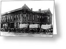 Wagon Train In Downtown Spokane - 1880 Greeting Card