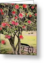 Wagon Wheel Bench Greeting Card