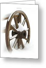 Wagon Wheel In Snow Greeting Card