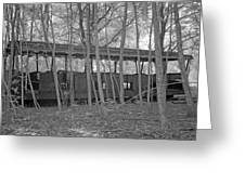 Wagons In The Forest In Infrared Light In Netherlands Greeting Card