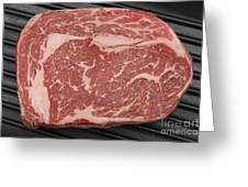 Wagyu Beef Steak In A Pan From Above Greeting Card by Paul Cowan