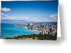 Waikiki Beach From Diamond Head Greeting Card