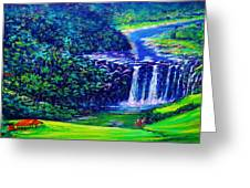 Waimea Falls - Horizontal Greeting Card by Joseph   Ruff
