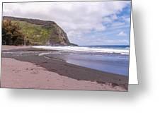 Waipio River Empties Into The Pacific Ocean Greeting Card