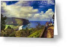 Waipo Valley Lookout-big Island Hawaii Greeting Card
