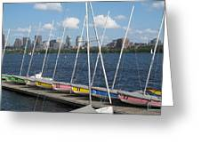 Waiting For Sailors On The Charles Greeting Card