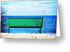 Waiting For Summer - The Green Bench Greeting Card