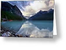 Waiting For Sunrise At Lake Louise Greeting Card