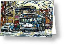 Waiting For The 80 Bus Montreal Memories Winter City Scene Painting January Art Carole Spandau Art Greeting Card