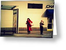 Waiting For The Bus - New York City Street Scene Greeting Card