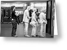 Waiting In Line At Grand Central Terminal 1 - Black And White Greeting Card