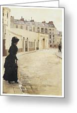 Waiting Paris Rue De Chanteaubriand Greeting Card by Jean Beraud