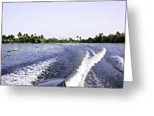 Wake From The Wash Of An Outboard Motor Boat In A Lagoon Greeting Card