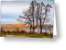 Walk Along The River Bank Greeting Card
