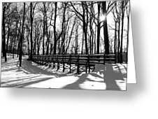 Sunset On Trail Bridge Greeting Card