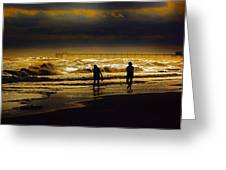 Walk In The Surf Colored Greeting Card