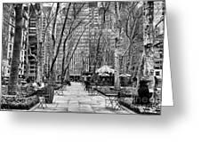 Walk Through Bryant Park Mono Greeting Card by John Rizzuto
