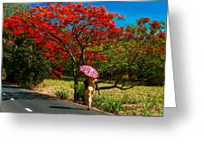 Walking Along The Road. Mauritius Greeting Card