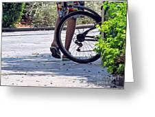 Walking And Biking Greeting Card