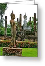 Walking And Sitting Buddha Images At Wat Sa Si In Sukhothai Historical Park-thailand Greeting Card