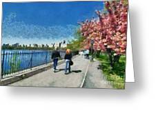 Walking Around Reservoir In Central Park Greeting Card