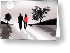 Walking By Moonlight Greeting Card
