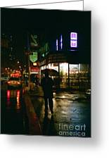 Walking Home In The Rain Greeting Card