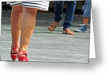 Walking In Red Sandals Greeting Card