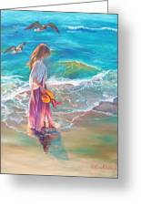Walking In The Waves Greeting Card
