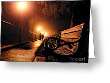 Walking On A Misty Evening Greeting Card