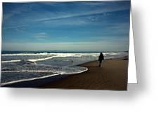 Walking On Seaside Beach Greeting Card