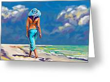 walking on the beach More Color Greeting Card