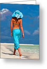 walking on the beach V Greeting Card