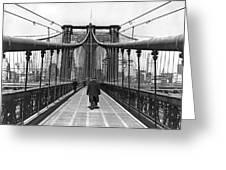 Walking On The Brooklyn Bridge Greeting Card