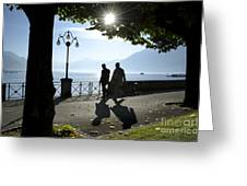 Walking On The Lakefront Greeting Card