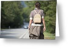 Walking On The Road Greeting Card