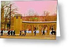 Walking Sherbrooke By Roddick Gates Mcgill Campus View Of Mont Royal Montreal Scenes Carole Spandau  Greeting Card